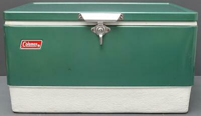 """Vintage Coleman 44qt Green Metal Cooler/Ice Chest Camping Gear 22.5""""x13.5""""x12.5"""""""