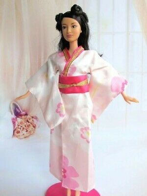 New Handmade For Barbie Kimono With Sash Belt Shoes 4 Piece Set For Barbie Dress