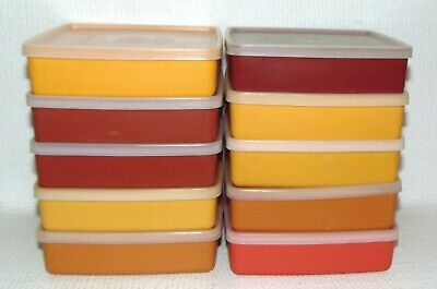 Lot of 10 Vintage Tupperware Square Sandwich Keepers #670 w/ Lids Autumn Colors