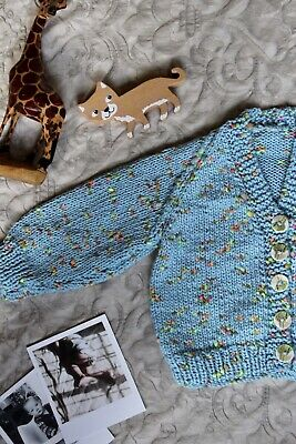 Baby Vintage 80s 6 Months Hand Knitted Cardigan Blue Marl Newborn Festive Gift
