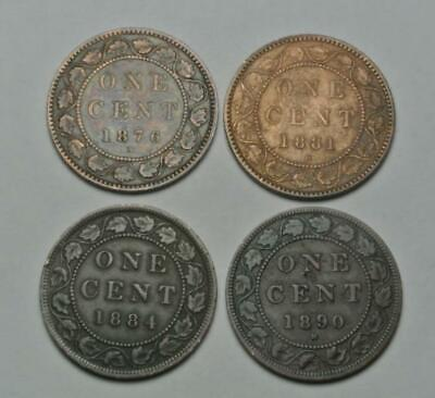 Lot of 4 Canadian Large Cents from Canada, 1876 1881 1884 1890 - C8268