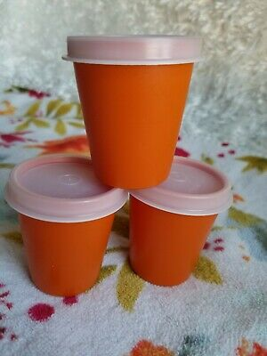 Vintage Tupperware 3 Midget 2 oz Mini Tumblers with Lids Burnt Orange USA Made
