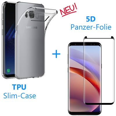 Samsung Galaxy S8 Plus Film Blindé de Protection 5D 9H + Housse Étui en Silicone