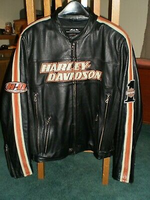 Harley Davidson MEN'S CLASSIC RIDING LEATHER JACKET Black/Orange Size L