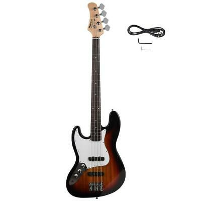 New Glarry Left-Hand Electric Jazz 4 Strings Bass Guitar + Cord + Wrench