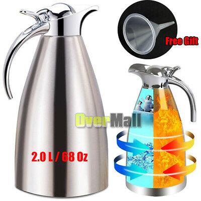 2L Stainless Steel Vacuum Insulated Thermal Carafe Coffee Pot Water Pitcher 68oz