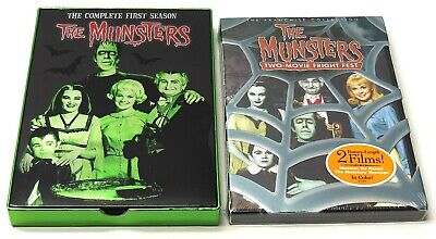 THE MUNSTERS DVD Lot COMPLETE FIRST SEASON + TWO MOVIE FRIGHT FEST SET NEW FAST