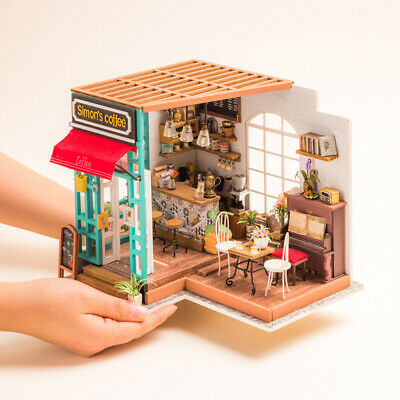Rolife Coffee Shop Dollhouse DIY Wooden Furniture Miniature Cafe Doll House Kits