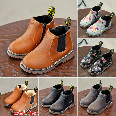 UK Kids Ankle Boots Boys Girls Winter Warm Floral Fur Lined Martin Chelsea Shoes