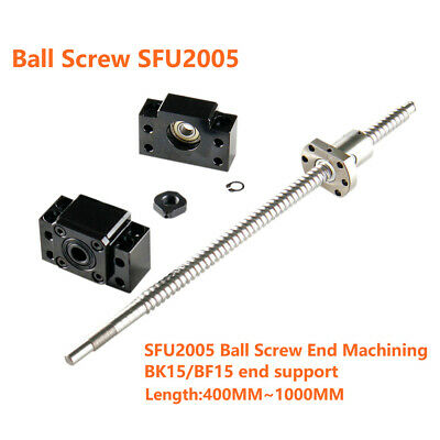 Ball Screw SFU2005 & Ball Nut 500 600 800 mm 1000mm & BK15/BF15 End Support CNC