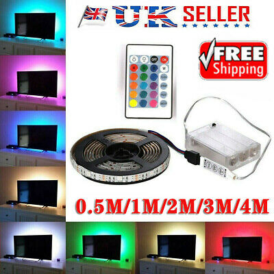 1-4M 5050 LED Strip RGB TV Back Lights Multicolor Battery Powered Remote Control