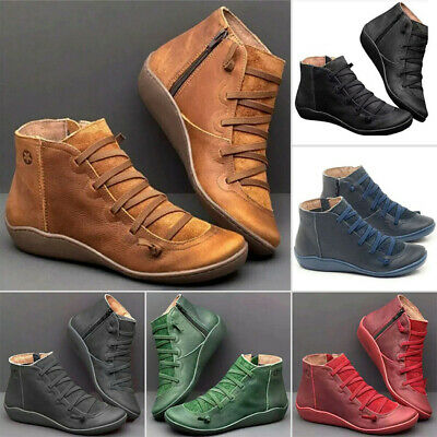 Women Winter Boots Autumn Arch Support Ankle Boots Side Zip Wedge Heel Flat Shoe