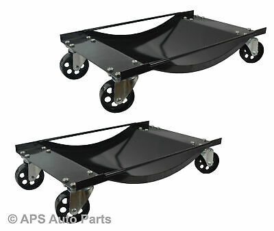2x Car Wheel Dollies Skates Car Van Vehicle Positioning Trolley 450kg Per Dolly
