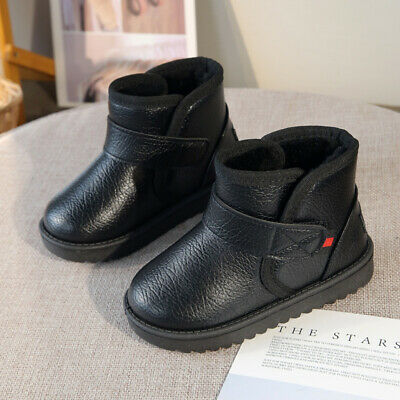 Toddler Boys Girls Boots Winter Warm Leather Fur Snow Boots Kids Child Walking