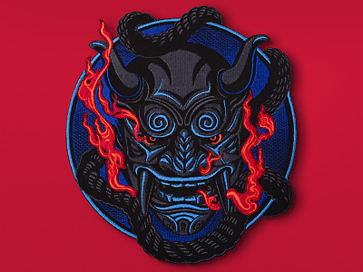 Oni Demon Embroidery Back Patch