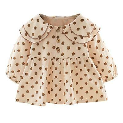 Baby Girl Kids Spring Autumn Clothes Long-Sleeves Dots Print Cute Dress