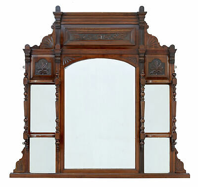 Early 20Th Century Edwardian Carved Walnut Overmantle Mirror