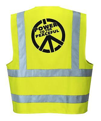 Power To The Peaceful Hi Vis Hi-Vis Vest Protest Yellow Peace Rebellion