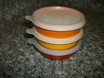 Vintage Tupperware Set of 3 Little Wonder Bowls  Harvest Colors #1286 with Lids
