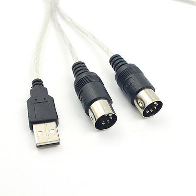 Digital USB IN-OUT MIDI Interface Cable Converter PC to Music Keyboard Cord、PTH