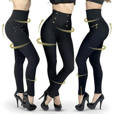 Women Fashion High Waist Slimming Waist-Shaping Leggings Casual Shaping PantPTH