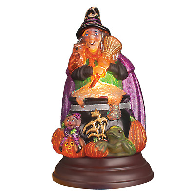 Witch With Cauldron Glass Table Light Figurine New Old World Christmas Halloween