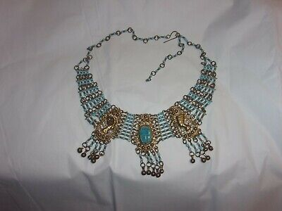 Egyptian collar necklace ~ gold & turquoise color beads scarab nefertiti