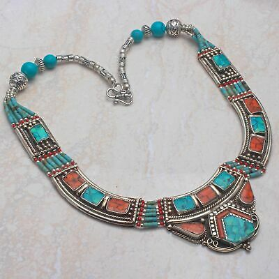 Lovely Tibetan Turquoise,Coral Handmade Big Necklace 157 Gms LBN-2848
