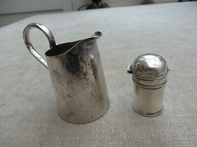 Antique stunning Mappin & Webb miniature silver plated jug and salt shaker