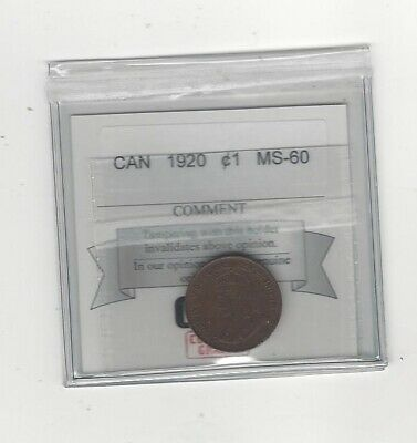 1920 , Coin Mart Graded Canadian, Small One Cent, **MS-60**