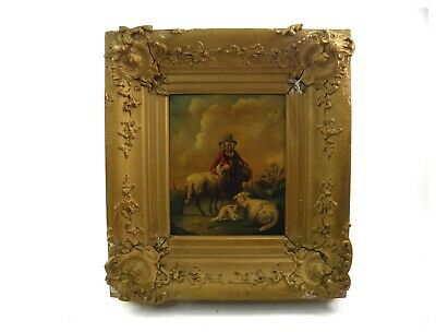 Antique 19th century oil painting on tin shepherdess & sheep in landscape