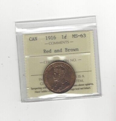 1916  ICCS Graded Canadian, Large One Cent, **MS-63**