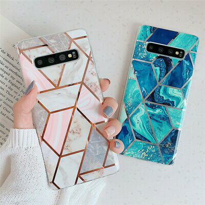 Geometric Marble Case For Samsung Galaxy S10 S9 S8 Plus A50 A70 Silicone Cover