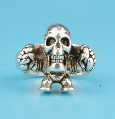 Unique China Tibetan Silver Hand-Carved Skull Statue Ring Custom Collection Old
