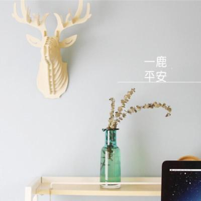 Wooden Antlers Trophy Animal Head 3D Wall Art Decor Home Decor Wall Hanging WO
