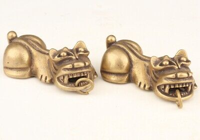 2 Sacred Chinese Bronze Pendant Statue Animal Kylin Fu Dog Mascot Collection