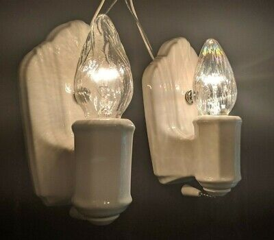Vintage Porcelier 1930's Art Deco, White Porcelain Sconces, RESTORED