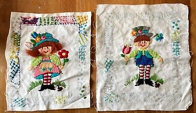 Old Vintage Partially Worked Crewel Embroidery Raggedy Ann and Andy on Linen