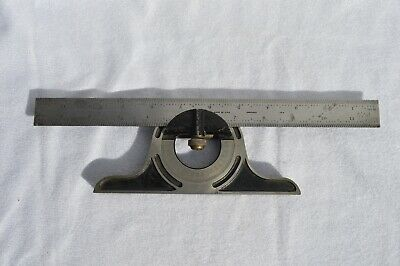 PEC tools protractor head. 16r. With sliding ruler and level bubble. Made in USA