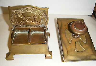 Antique Arts and Crafts Solid Brass Stamp and Ink Blotter Set