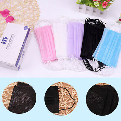 NEW 50PCS Disposable Non Woven Face Mask Medical 2 Layer Earloop Face Mask