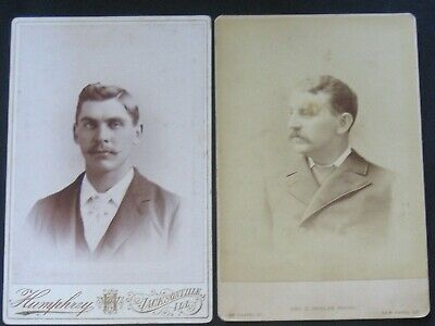 2 Cabinet Card Photos~Young Mustache Men Backstamp Jacksonville,ILL+New Haven,CT