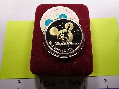 Walt Disney World 20Th Anniver Mickey Minnie Mouse 999 Silver Gold Coin Case Coa
