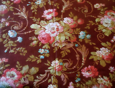 Antique French Rococo Floral Basket Cotton Fabric~ Raisin Olive Turquoise