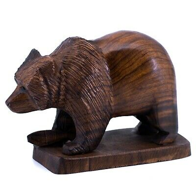 """Unique Hand Carved Ironwood Bear With Fish Figurine Wood Carving 6.75"""" Long"""