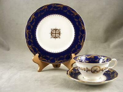 Vintage Minton Blue Trio Set For Tiffany & Co. - Cup, Saucer And Dessert Plate