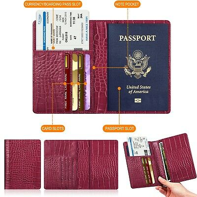 Passport Holder Travel Wallet RFID Blocking Vegan Leather Card Sleeve Case Cover