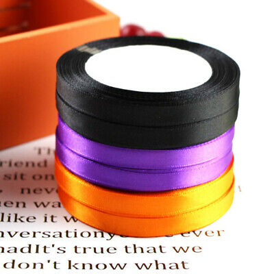 25 Yards 10mm Satin Ribbon Wedding Halloween Party DIY Hair Bow Craft Decor Lots