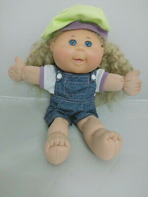 Cabbage Patch Doll Blonde Hair Blue Eyes Light Green Hat