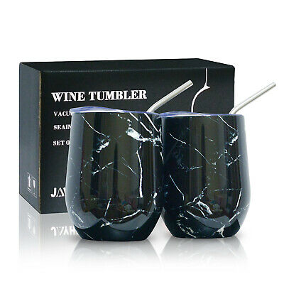 2x Insulated Wine Tumbler with Lid & Straw Stainless Steel 12oz Vacuum Coffe Cup